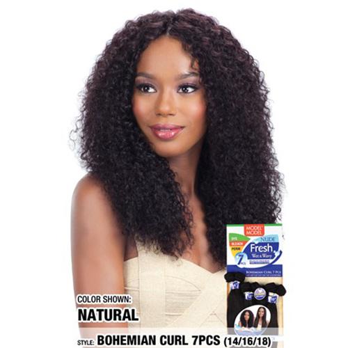 """Model Model Nude Fresh Wet & Wavy Weave Bohemian Curl 7Pcs (14""""16""""18"""")"""